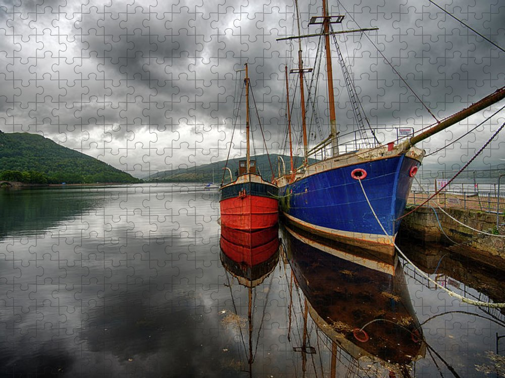 Tranquility Puzzle featuring the photograph Two Ships At The Cost Of Loch Fyne by Emad Aljumah