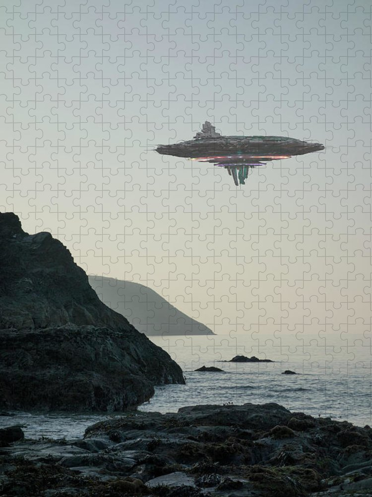 Risk Puzzle featuring the photograph Ufo Flying Saucer Alien Spacecraft by Coneyl Jay