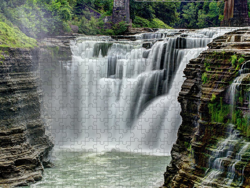 Letchworth State Park Puzzle featuring the photograph Upper Letchworth Falls by Tony Shi Photography