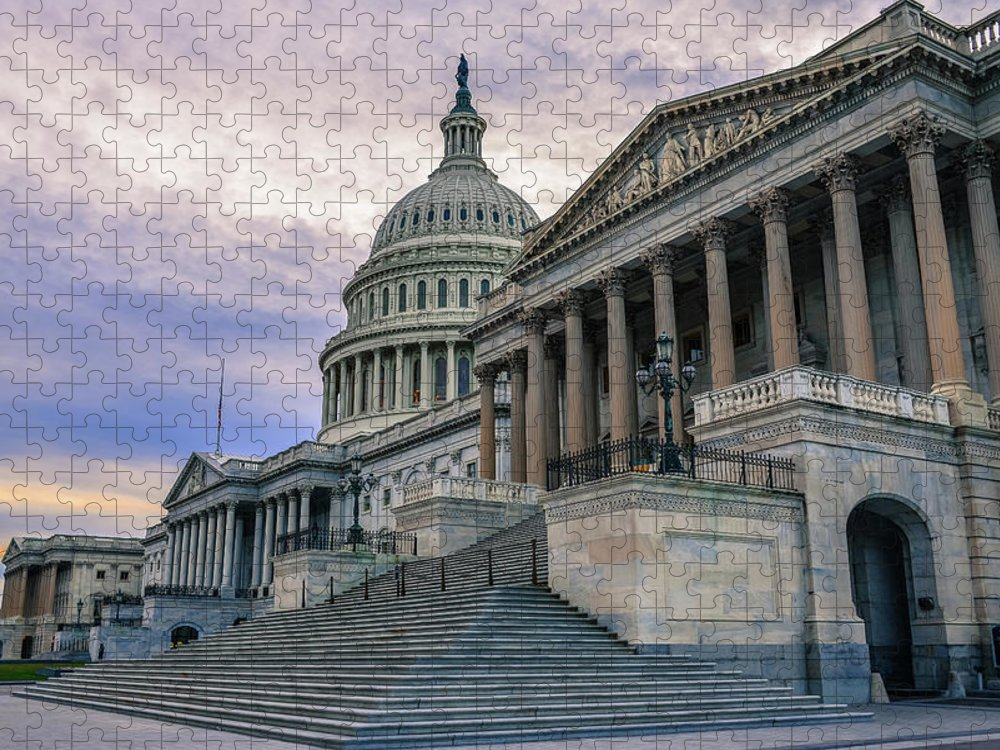 Tranquility Puzzle featuring the photograph Us Capitol Building And Senate Chamber by Mbell