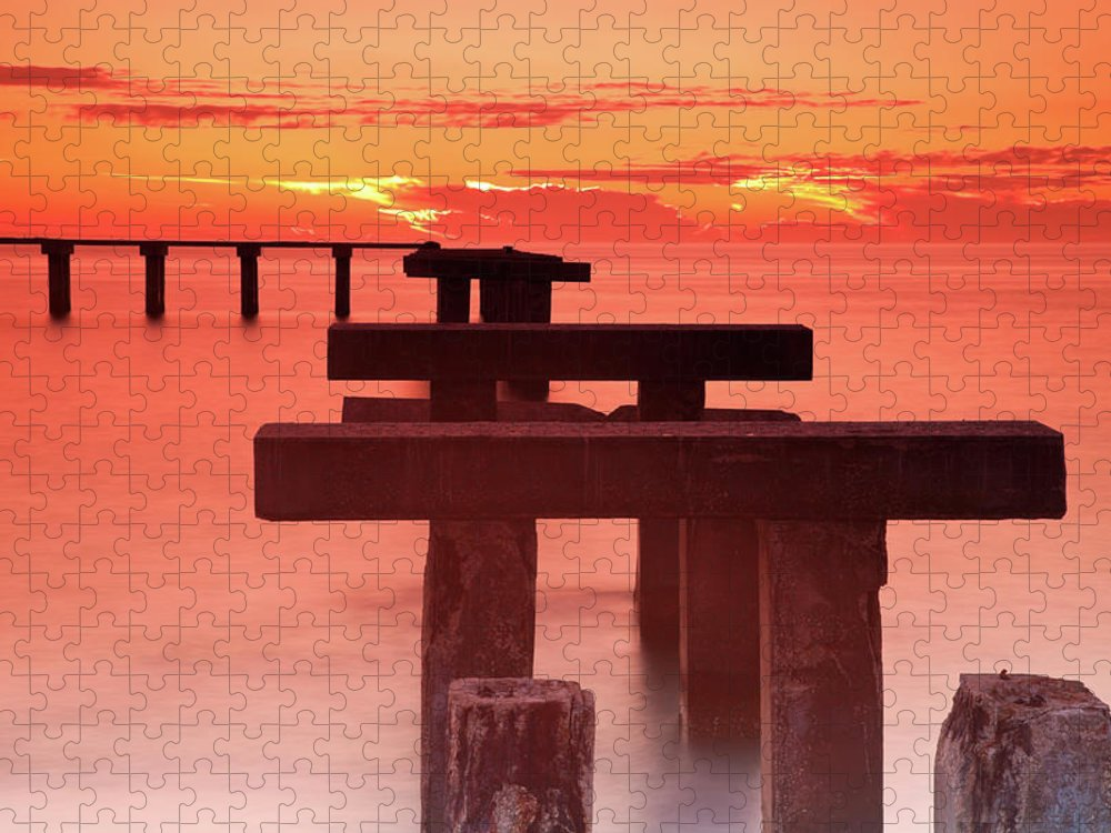 Tranquility Puzzle featuring the photograph Usa, Florida, Boca Grande, Ruined Pier by Henryk Sadura