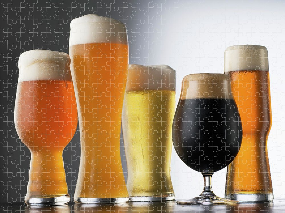 Five Objects Puzzle featuring the photograph Variety Of Beer Glasses by Jack Andersen