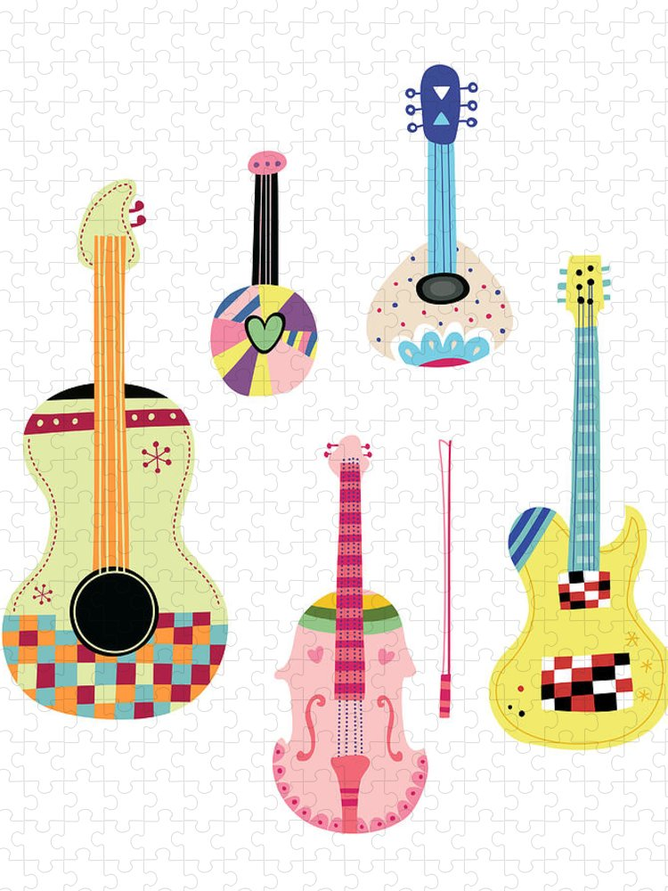 White Background Puzzle featuring the digital art Various Kinds Of Stringed Instruments by Eastnine Inc.