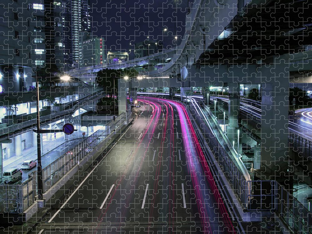 Yokohama Puzzle featuring the photograph Vehicle Light Trails On National Route 1 by Digipub