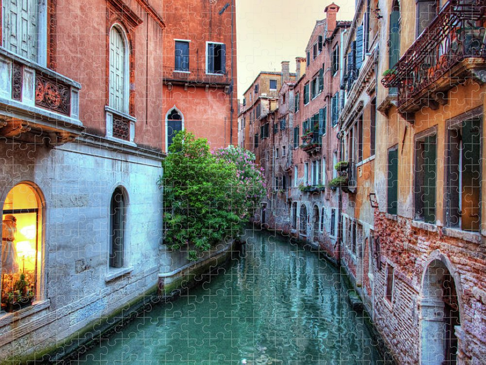 Tranquility Puzzle featuring the photograph Venice Canals by Emad Aljumah