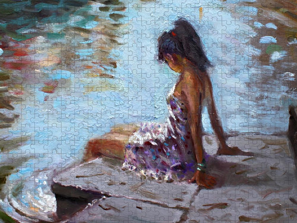 Reflections Puzzle featuring the painting Venice Reflections by Ylli Haruni