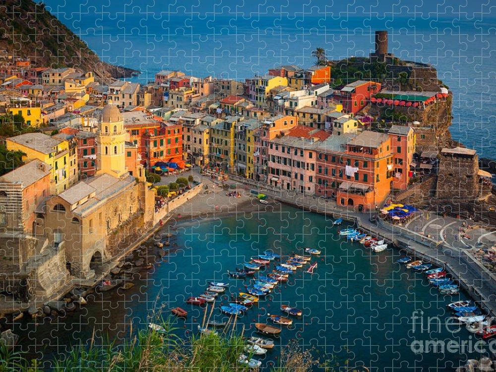 Cinque Terre Puzzle featuring the photograph Vernazza Pomeriggio by Inge Johnsson