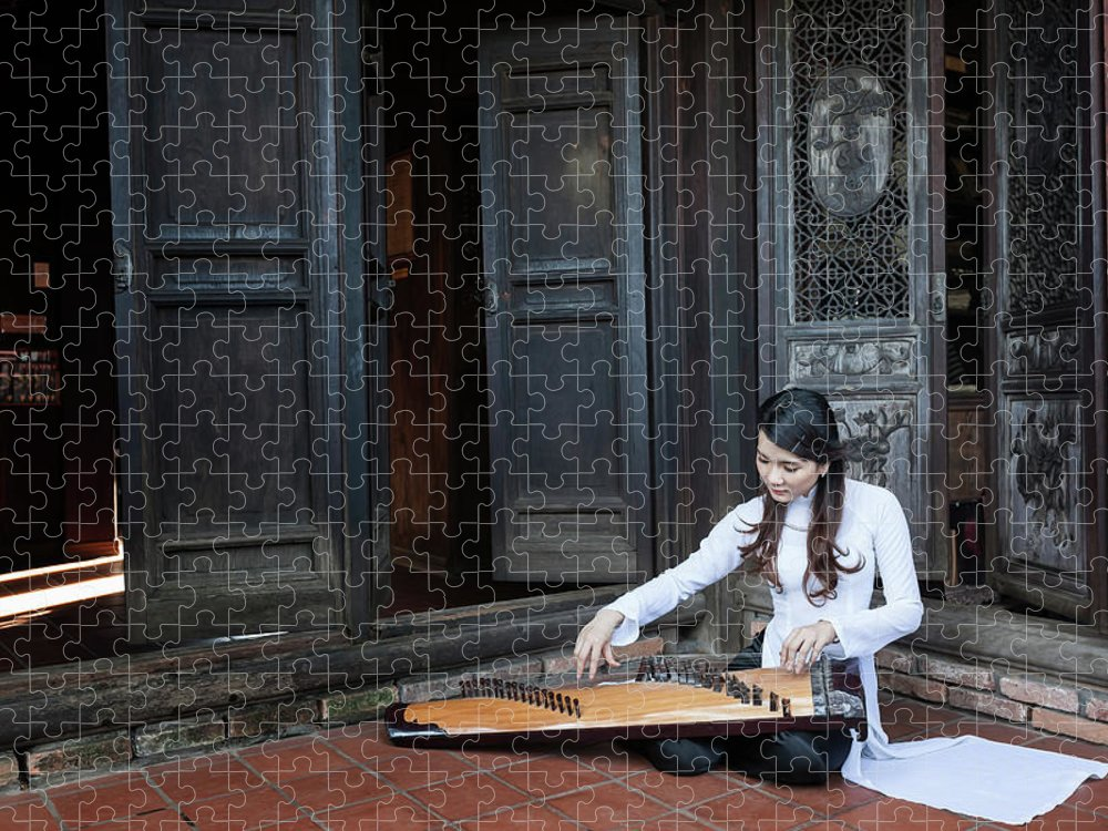 Three Quarter Length Puzzle featuring the photograph Vietnamese Ao Dai Playing Orchestra by Jethuynh