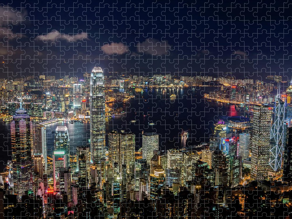 Downtown District Puzzle featuring the photograph View From Victoria Peak, Hong Kong by Wilfred Y Wong