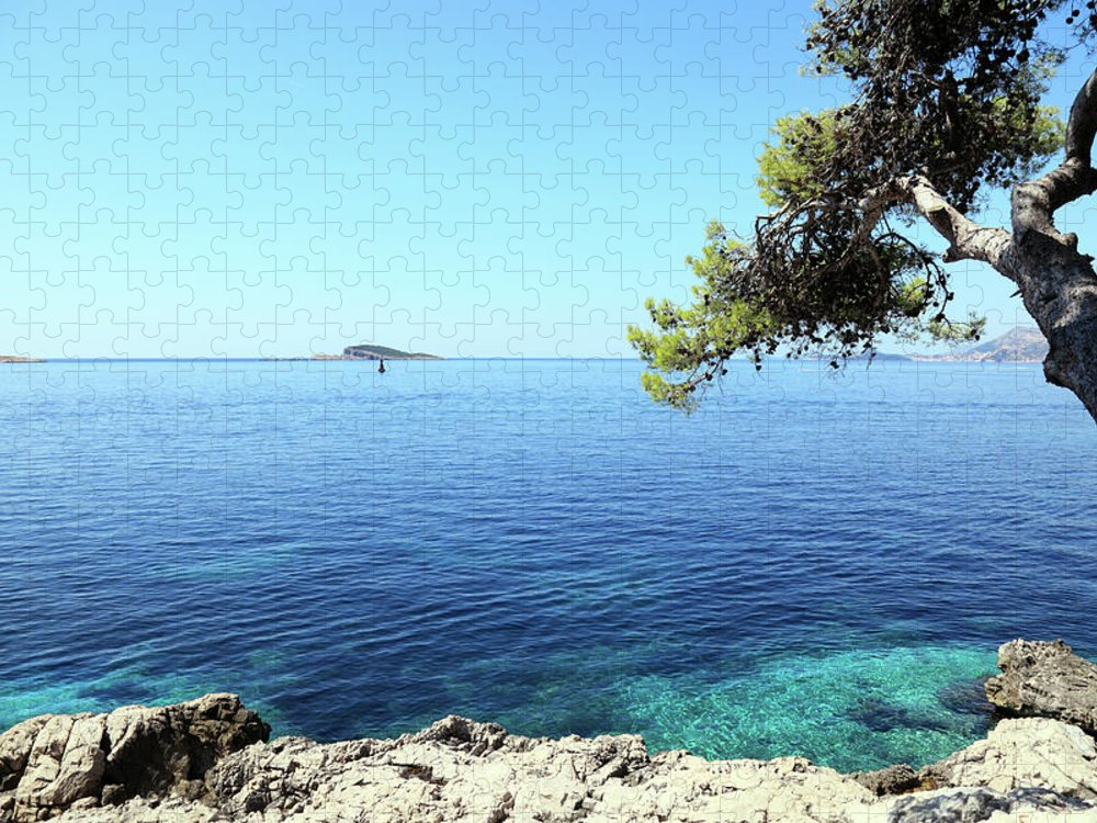 Water's Edge Puzzle featuring the photograph View Of Dubrovnik From Cavtat Peninsula by Vuk8691