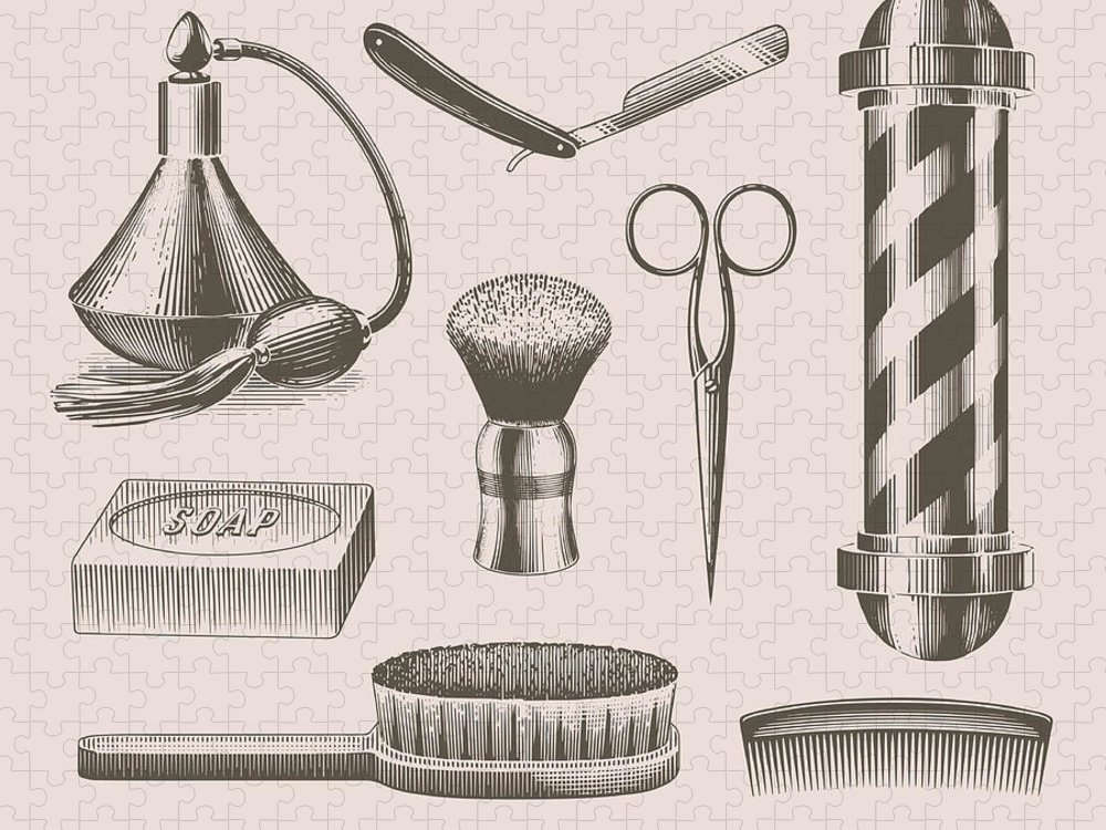 English Culture Puzzle featuring the digital art Vintage Barbershop Objects by Darumo
