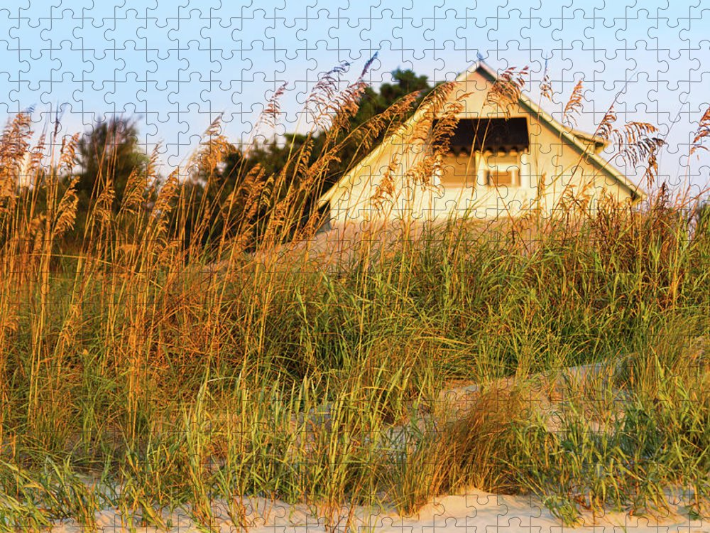 American Beachgrass Puzzle featuring the photograph Vintage Beach Cottage, Pawleys Island by Hiramtom
