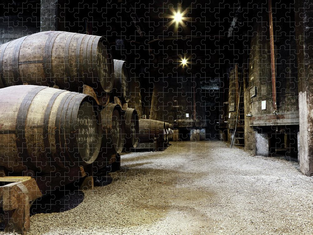 Desaturated Puzzle featuring the photograph Vintage Porto Wine Cellar by Vuk8691