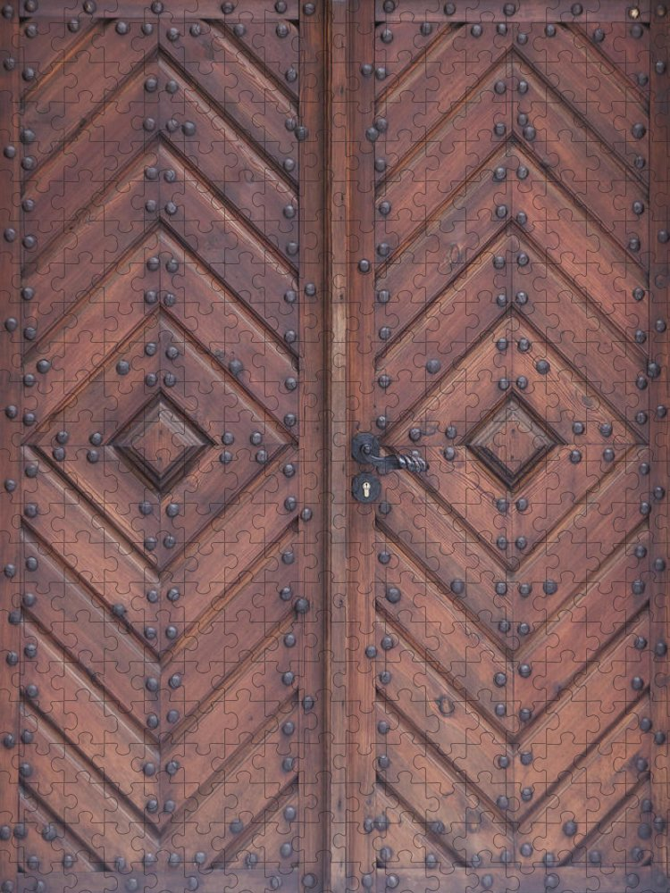 Material Puzzle featuring the photograph Vintage Wooden Brown Door Close-up by Bogdan Khmelnytskyi
