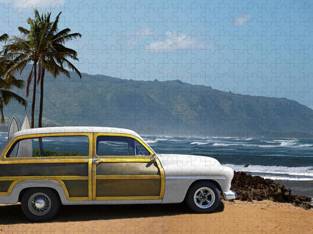 Haleiwa Puzzle featuring the photograph Vintage Woody On Hawaiian Beach by Ed Freeman