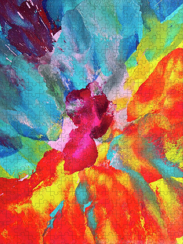 Art Puzzle featuring the digital art Vivid Multicolored Abstract Art On by Cstar55