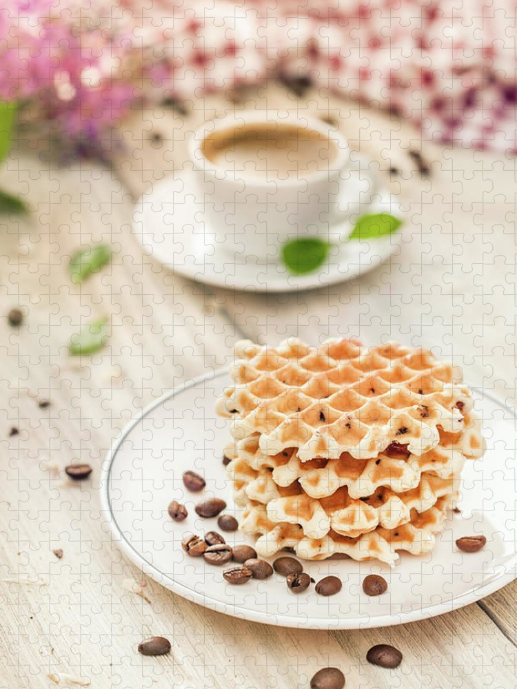 Breakfast Puzzle featuring the photograph Waffles With Coffee by Da-kuk