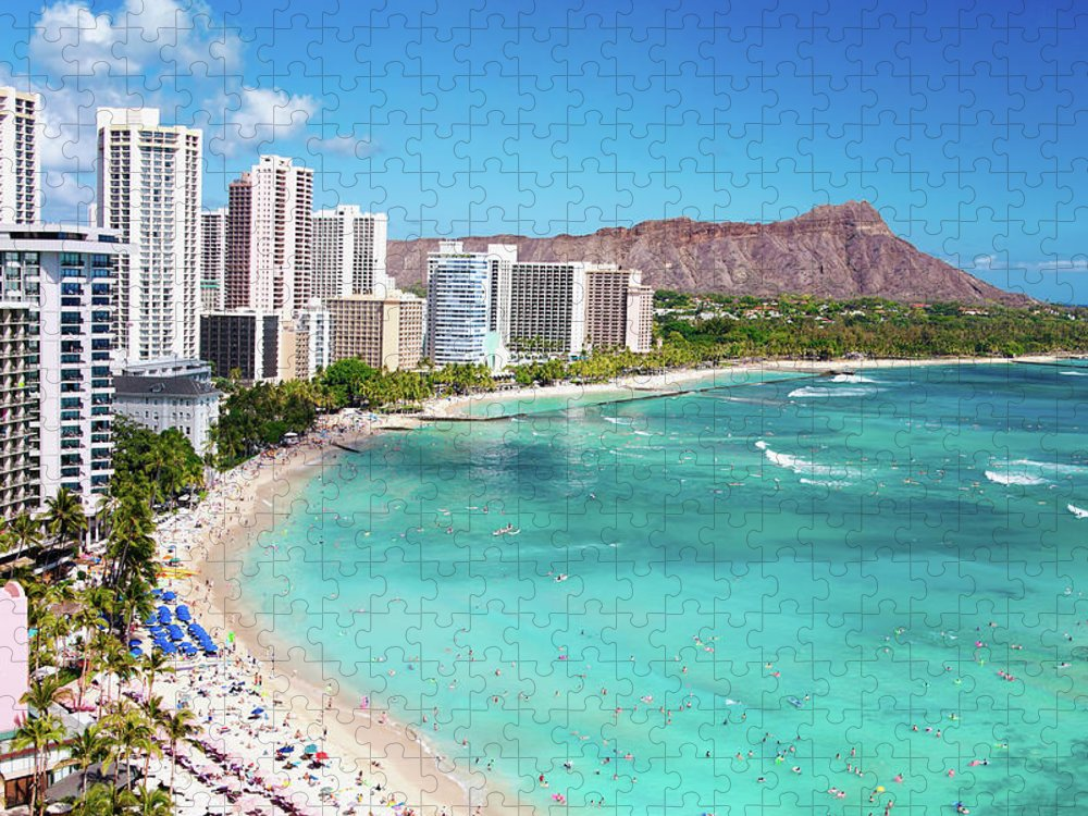 Water's Edge Puzzle featuring the photograph Waikiki Beach by M Swiet Productions