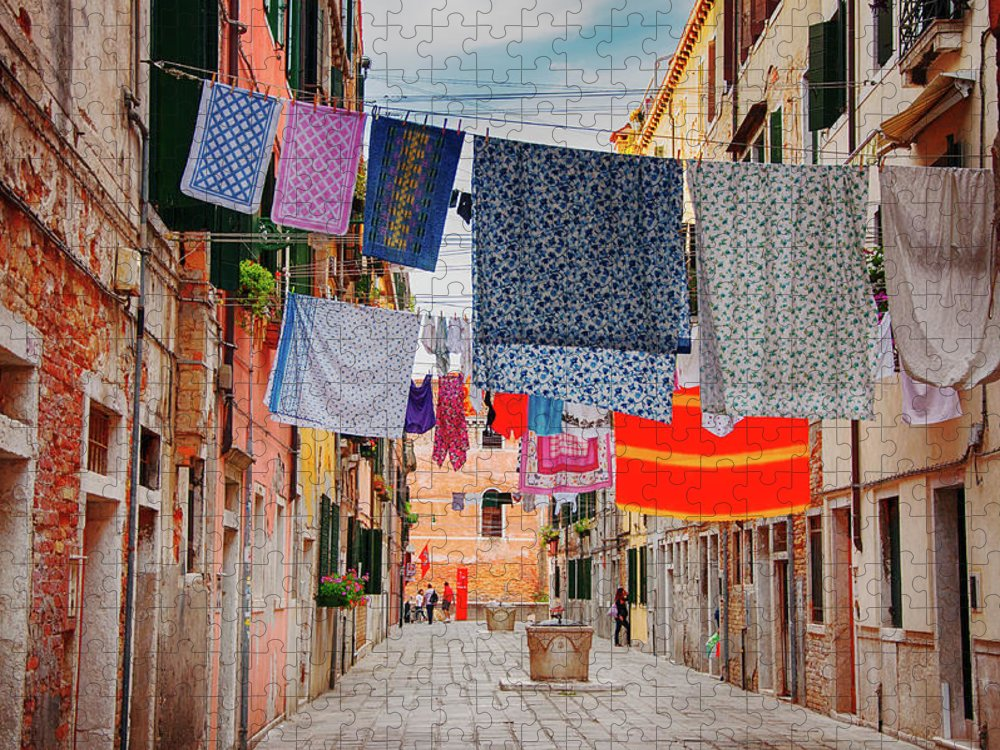 Hanging Puzzle featuring the photograph Washing Hanging Across Street, Venice by Svjetlana