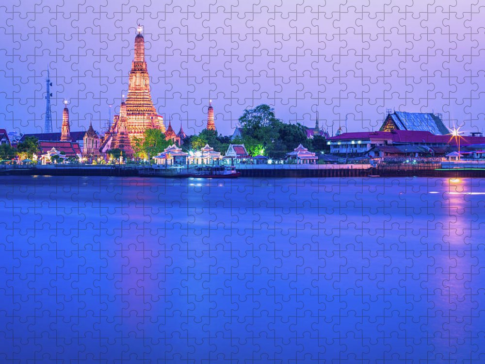Scenics Puzzle featuring the photograph Wat Arun Temple Bangkok Thailand by Deimagine