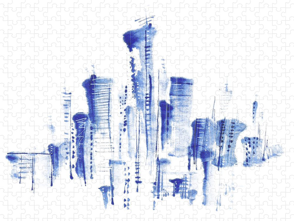 White Background Puzzle featuring the digital art Water-and-ink Cityscape by Bji/blue Jean Images