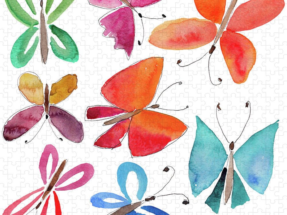 Watercolor Painting Puzzle featuring the digital art Watercolor Butterflies by Anndoronina