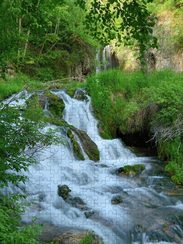 Scenics Puzzle featuring the photograph Waterfall In Spearfish Cayon South by Groveb