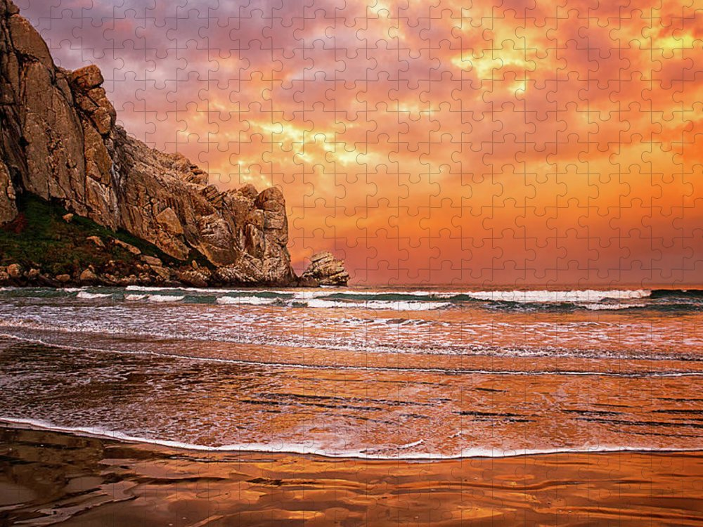Water's Edge Puzzle featuring the photograph Waves Breaking On Beach At Sunrise by Alice Cahill