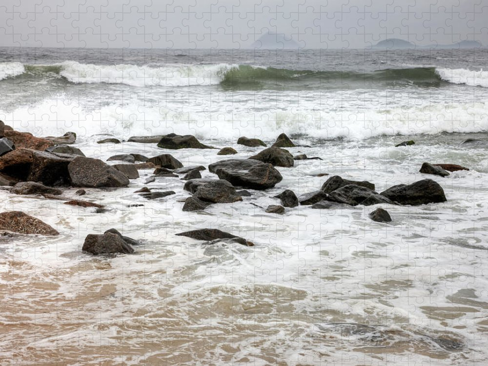 Water's Edge Puzzle featuring the photograph Waves Crashing On Copacabana Beach In by Tirc83