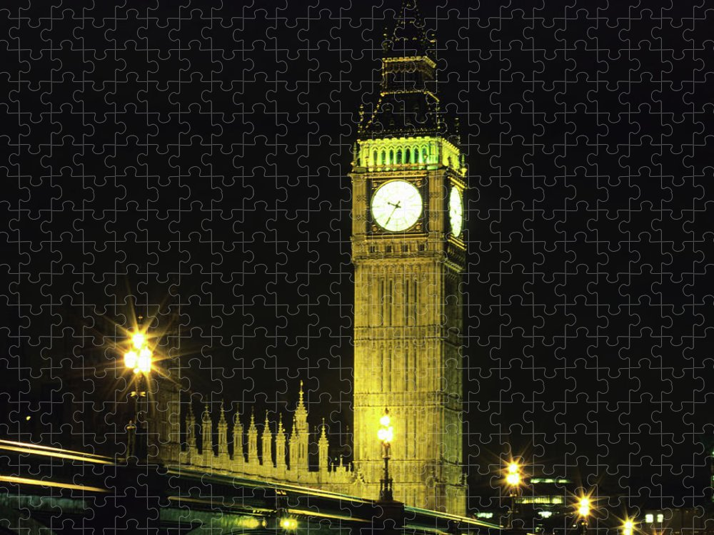 Gothic Style Puzzle featuring the photograph Westminster Bridge And Big Ben At by Hisham Ibrahim