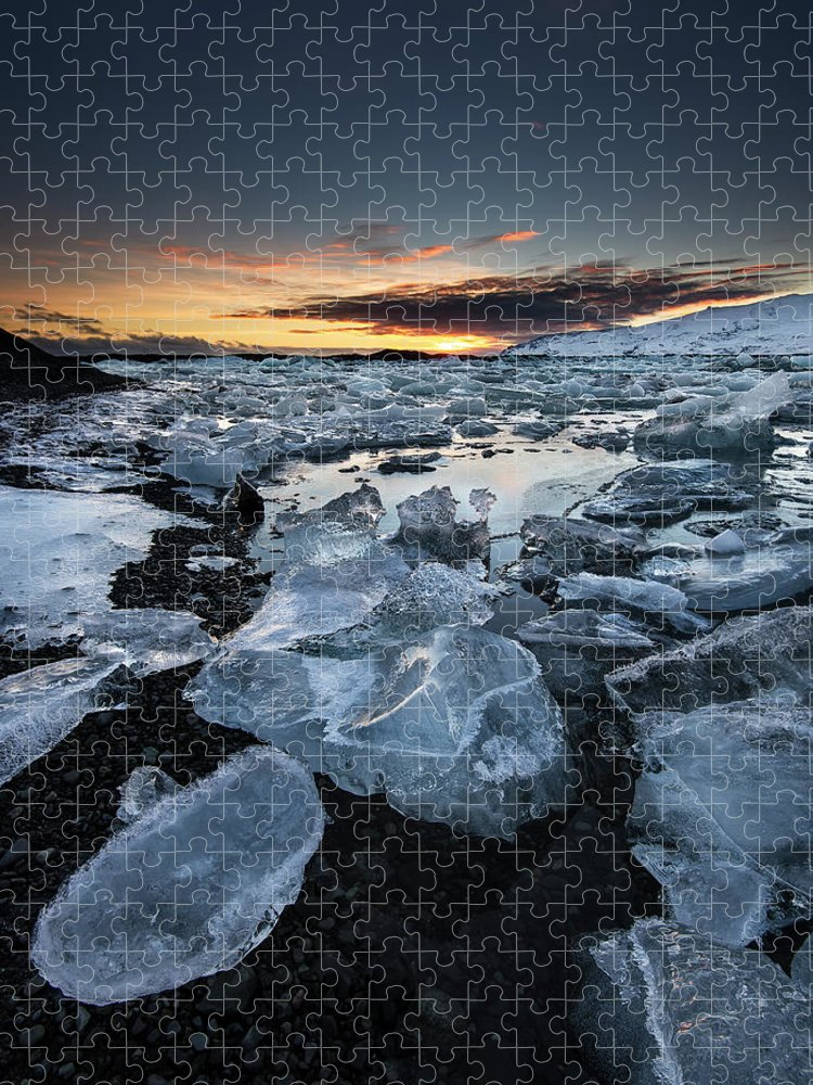 Scenics Puzzle featuring the photograph When The Sun Says ... Goodbye by Cresende
