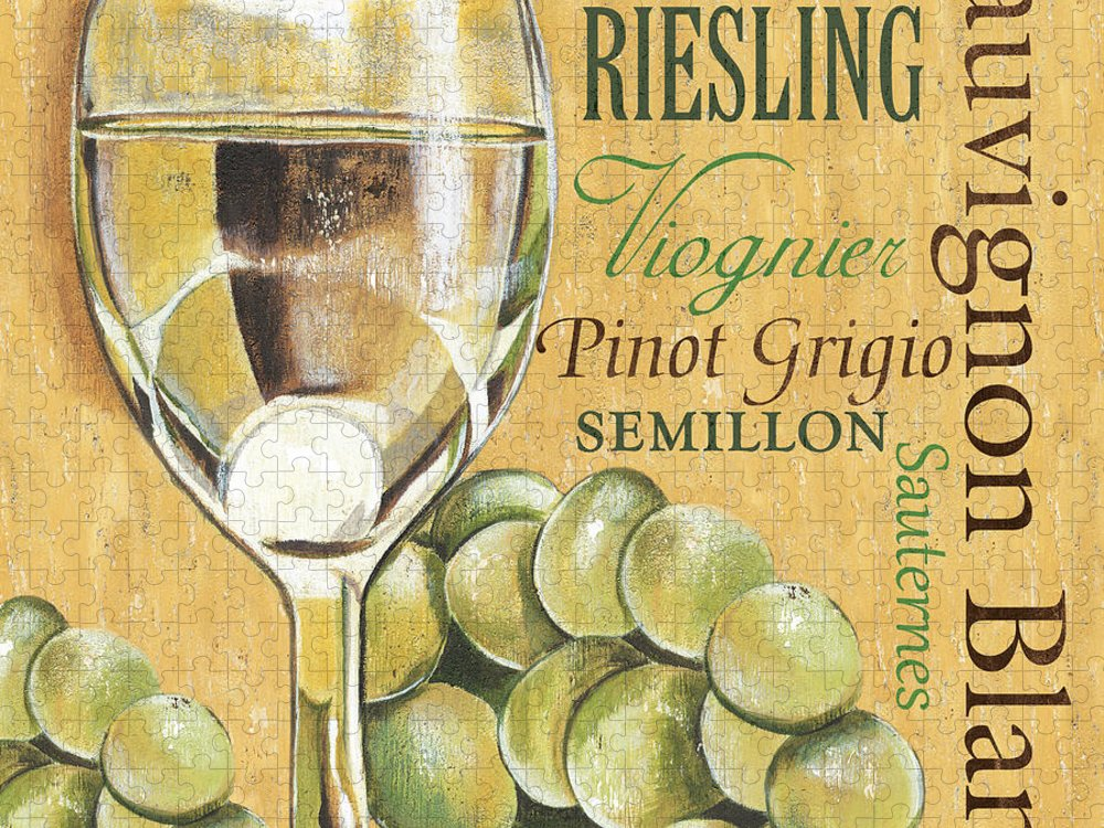Wine Puzzle featuring the painting White Wine Text by Debbie DeWitt