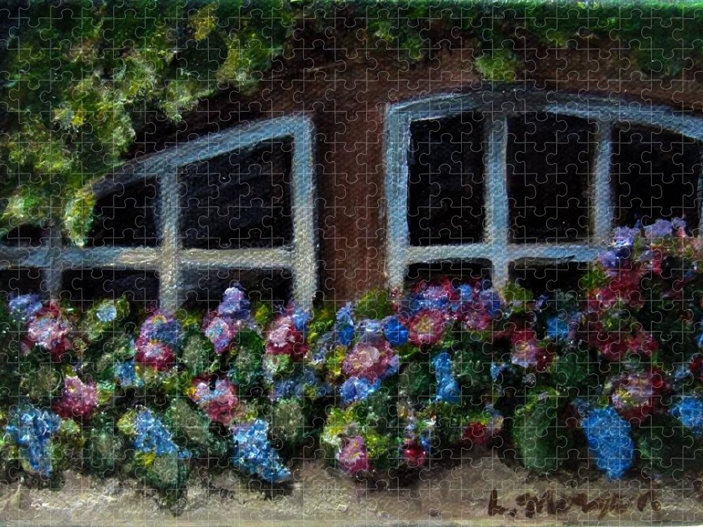 Window Box Puzzle featuring the painting Window Box Wonder by Laurie Morgan