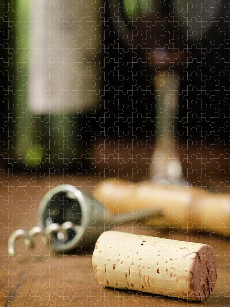 Corkscrew Puzzle featuring the photograph Wine Cork, Corkscrew, Wineglass, And by 1morecreative