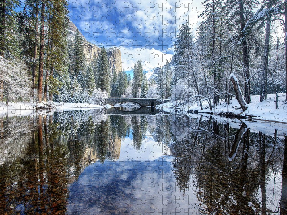 Scenics Puzzle featuring the photograph Winter Reflection At Yosemite by Piriya Photography