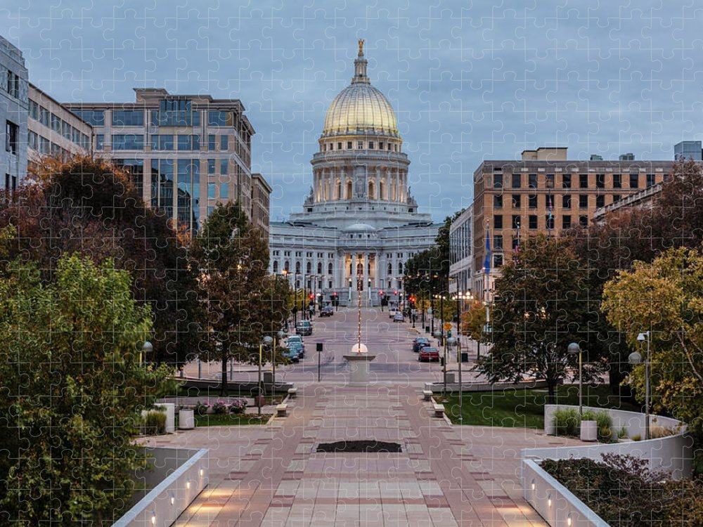 Land Vehicle Puzzle featuring the photograph Wisconsin State Capitol Building by Kenneth C. Zirkel