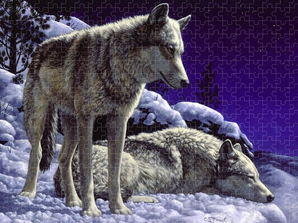 Wolf Puzzle featuring the painting Wolf Painting - Night Watch by Crista Forest