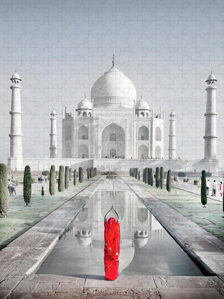 Tranquility Puzzle featuring the photograph Woman In Red Sari Praying At Taj Mahal by Grant Faint