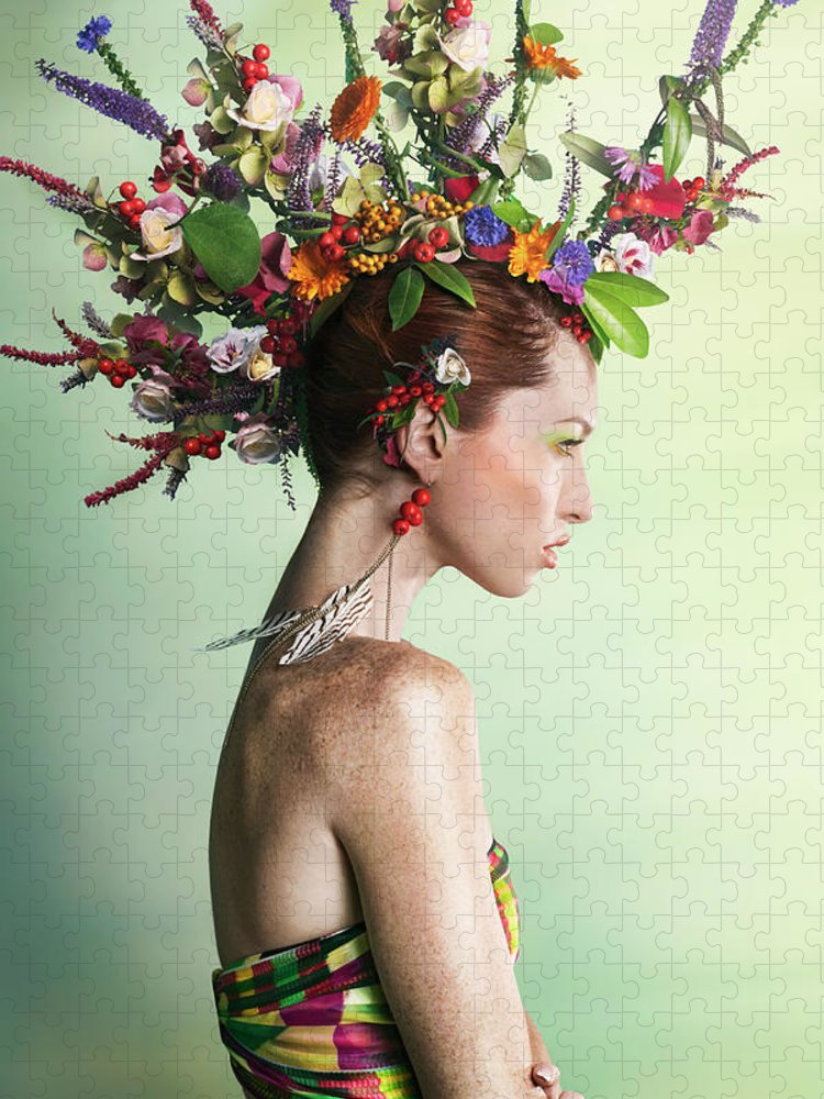 Art Puzzle featuring the photograph Woman Wearing A Colorful Floral Mohawk by Paper Boat Creative