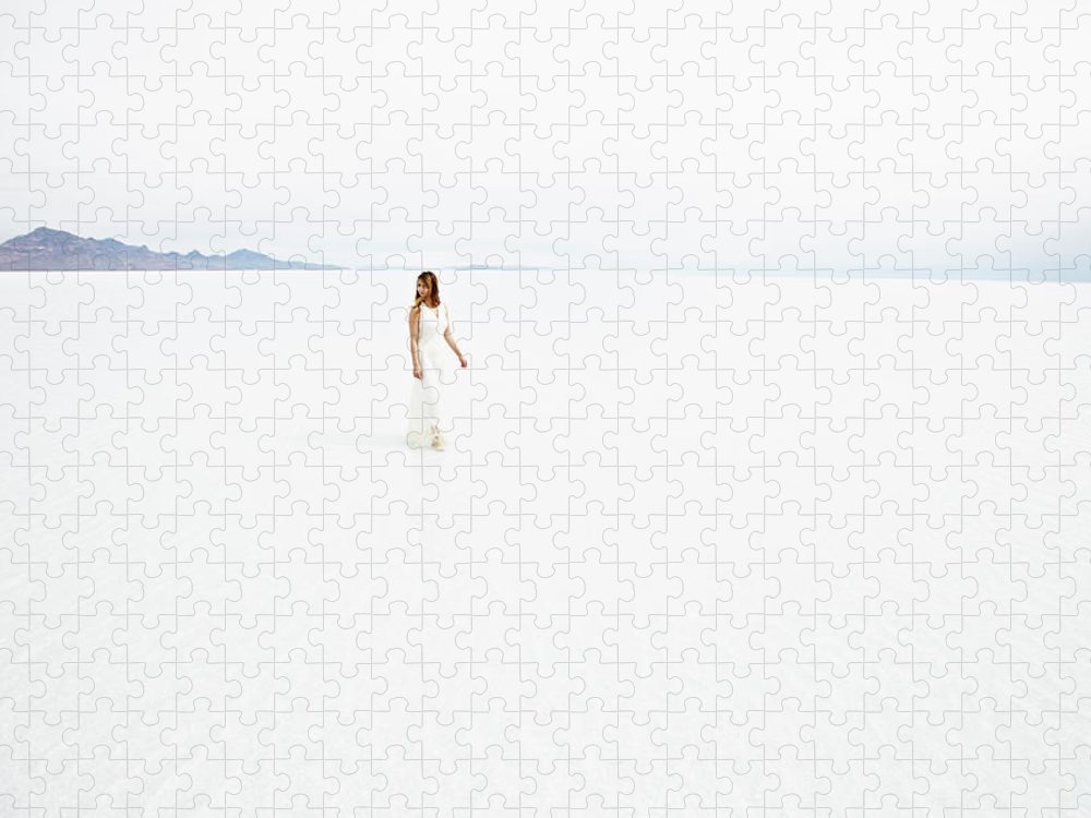 Scenics Puzzle featuring the photograph Woman Wearing Dress Walking Through by Thomas Barwick