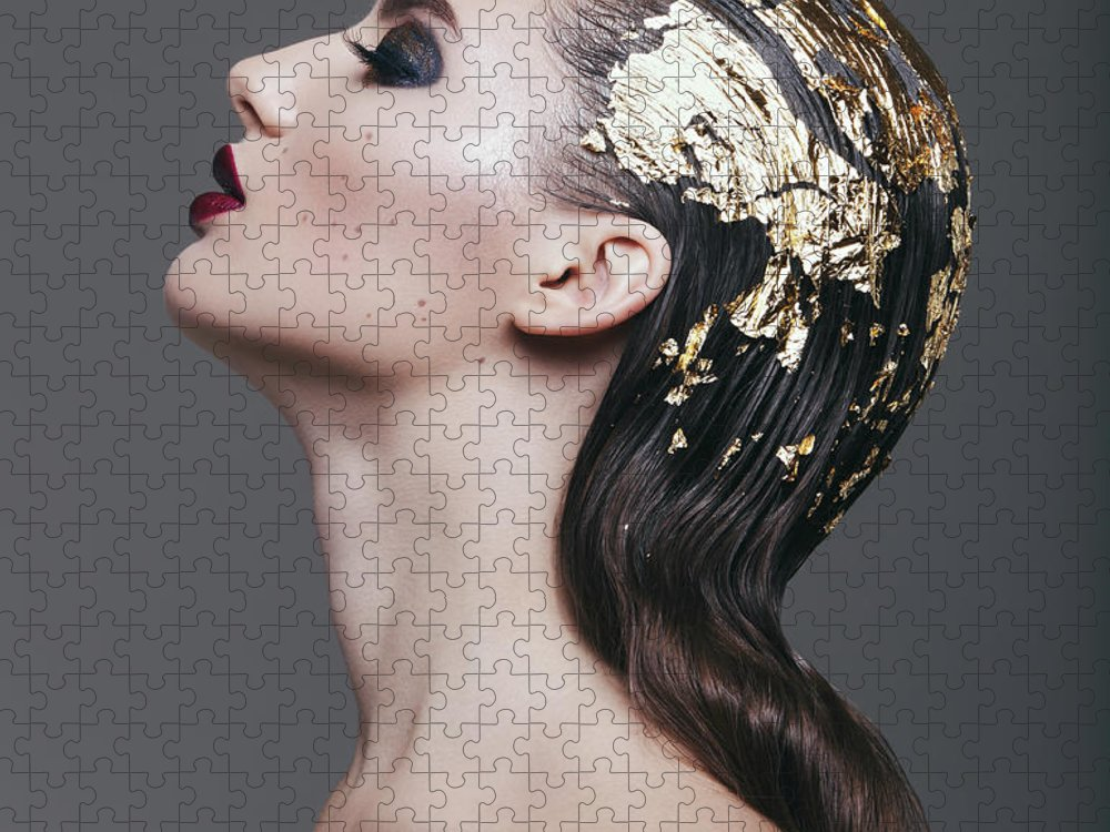 Cool Attitude Puzzle featuring the photograph Woman With Foil Hairstyle by Lambada