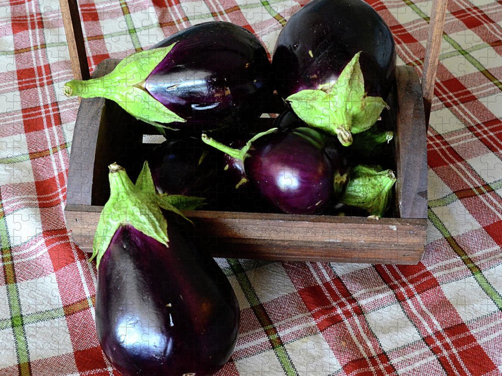 Purple Puzzle featuring the photograph Wooden Basket Of Eggplant by Jessica Lynn Culver