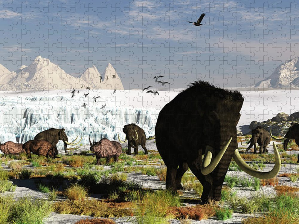 Prehistoric Era Puzzle featuring the digital art Woolly Mammoths And Woolly Rhinos In A by Arthur Dorety/stocktrek Images