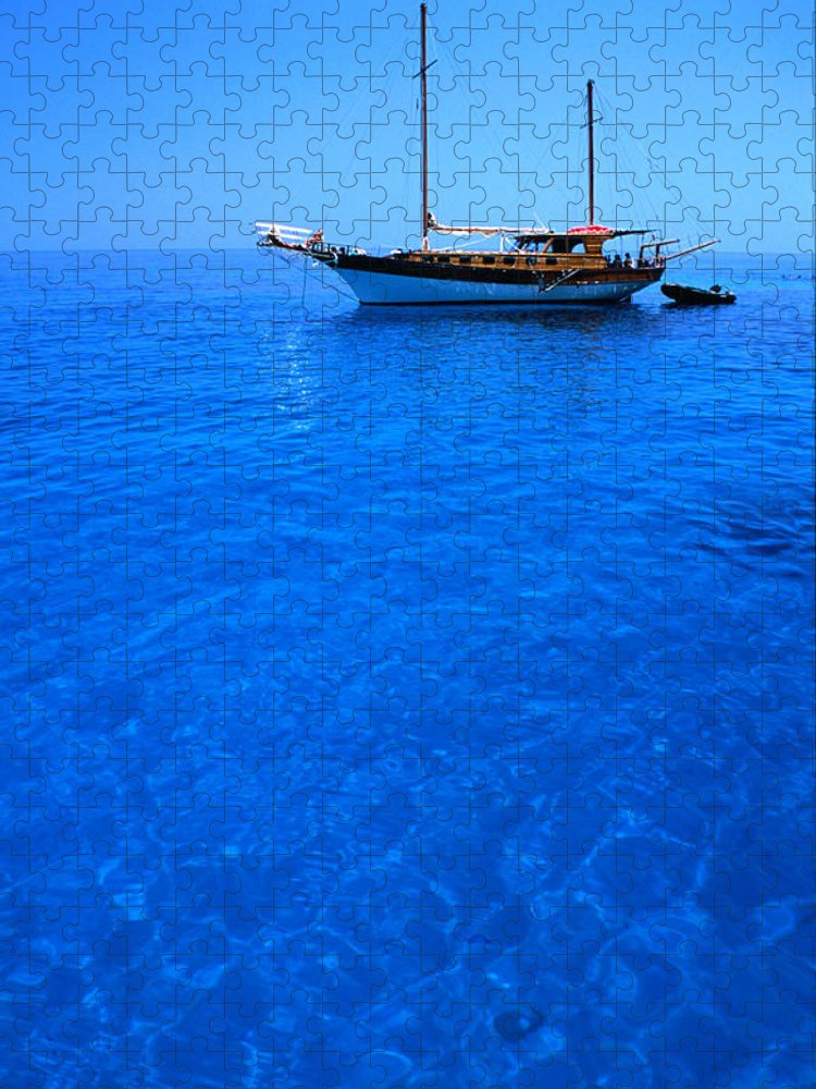 Freight Transportation Puzzle featuring the photograph Yacht Anchored In The Spectacular by Dallas Stribley
