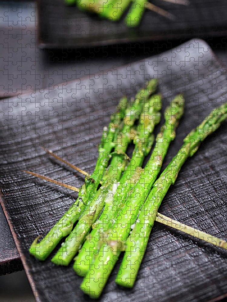 Serving Dish Puzzle featuring the photograph Yakitori Asparagus by Katya Lyukum