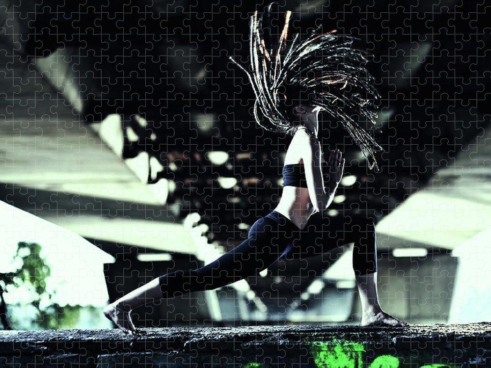 Warrior 2 Puzzle featuring the photograph Yoga Virabhadrasana by Myshkovsky