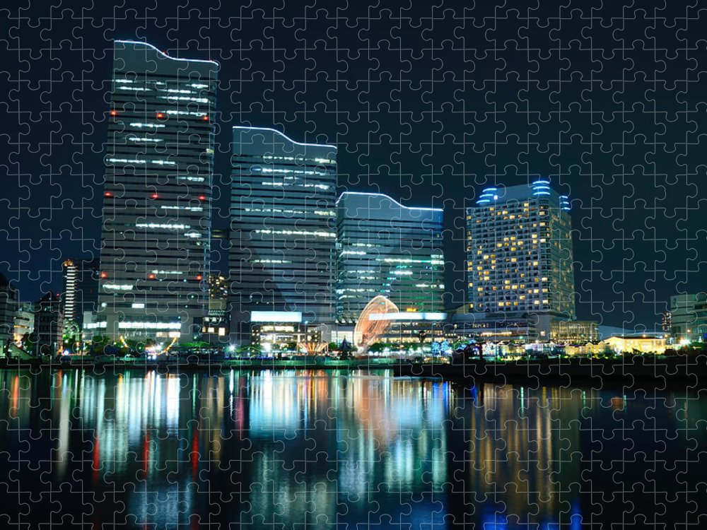 Minato Mirai Puzzle featuring the photograph Yokohama Minato-mirai by Kaoru Hayashi