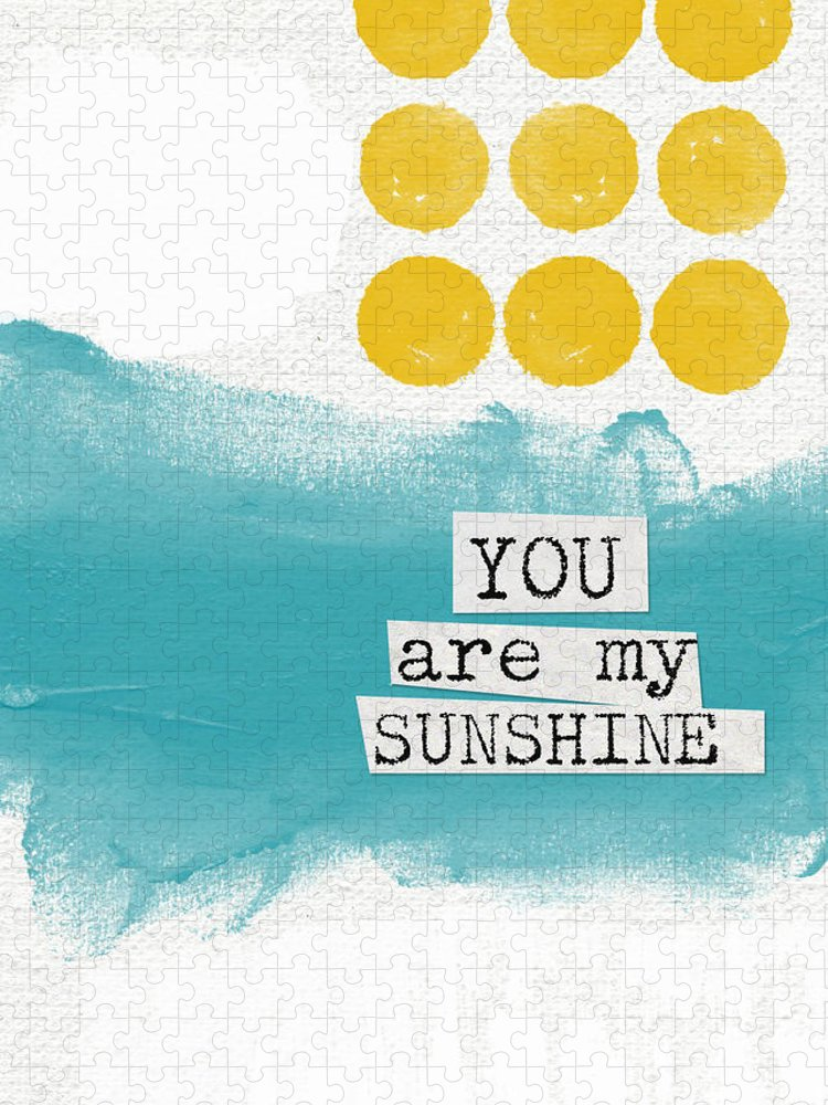 Love Puzzle featuring the painting You Are My Sunshine- abstract mod art by Linda Woods
