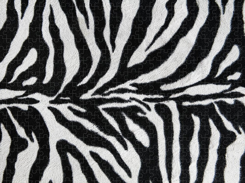Animal Skin Puzzle featuring the photograph Zebra Textile Background by Narvikk