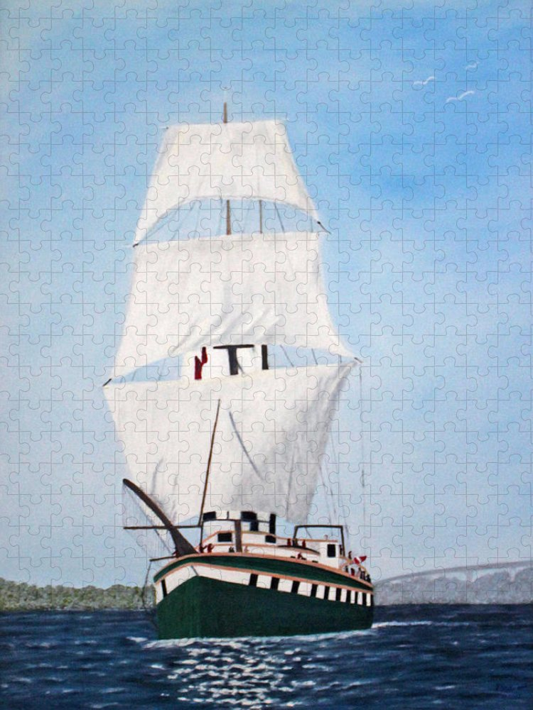 Ship Puzzle featuring the painting Fair Jeanne Tall Ship by Peggy Holcroft